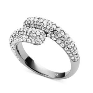 Michale Kors CRYSTAL Pave bypass silver ring SZ 6
